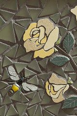 roses & bee (Borg Mosaics) Tags: plant fern detail art dan mushroom metal wall oregon insect tile portland artist unitedstates floor mosaic interior borg ann bead custom portlandoregon residential salvage commission glassbead foundobject larson comission pratt reuse intricate sacks fabrication macrophotography greenhome omey enteranceway danborg therebuildingcenter salvagedart custommosaic gardenmosaic overlookneighborhood ebenwaggonerphotography borgmosaics salvagedtile debomey coreyomey