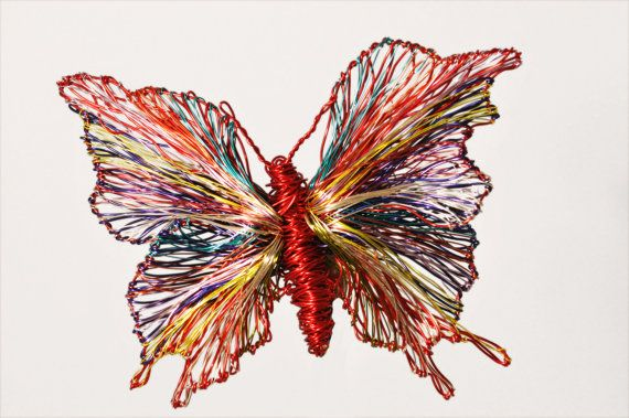Butterfly art jewelry, colorful butterfly brooch, wire sculpture, large brooch, red jewelry, Christmas, unusual gift women, modern hippie  Colorful butterfly brooch, wire sculpture art butterfly jewelry, made of colored copper and silver wire.The height of the large brooch, red jewelry is 6cm (2.36in) and the width of the modern hippie jewelry (body with wings) is 9cm (3.54in). The pin of the unusual Christmas gift, for women, is silver.