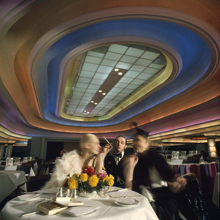 Most iconic at Big Biba was the Rainbow Room Restaurant, a large open space with giant rainbow colored lighting on the ceiling. It was a great place for star spotting, a go-to hangout for celebrities like Mick Jagger, Twiggy, Julie Christie and Tony Curtis. London's Lost Department Store of the Swinging Sixties | Messy Nessy Chic