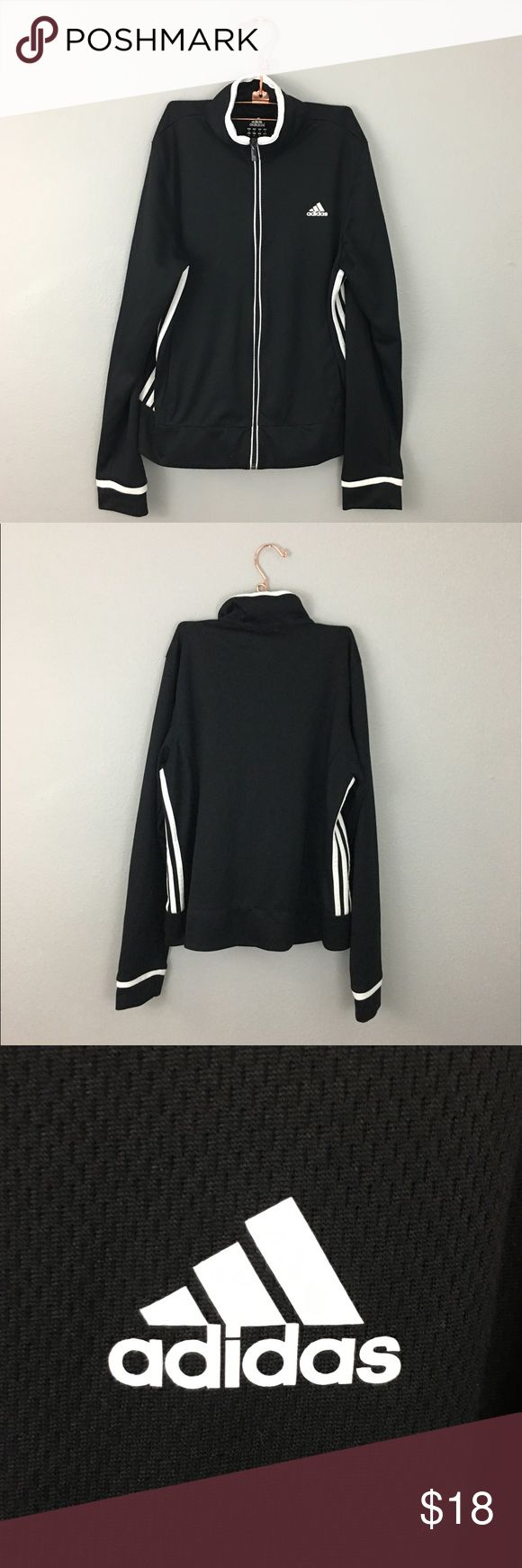 Adidas Black White Striped Zip Up Jacket Adidas Black White Striped Zip Up Jacket. Size medium. In great condition, no holes or stains. adidas Tops Sweatshirts & Hoodies