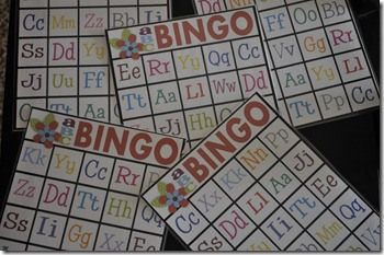 What a fun site! Lots of alphabet game ideas to play with kids at home - free printables too! Alphabet Bingo!