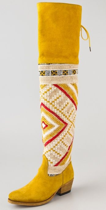 Mustard yellow boots with Moroccan wool tapestry (from cobra society) #fashion #shoes