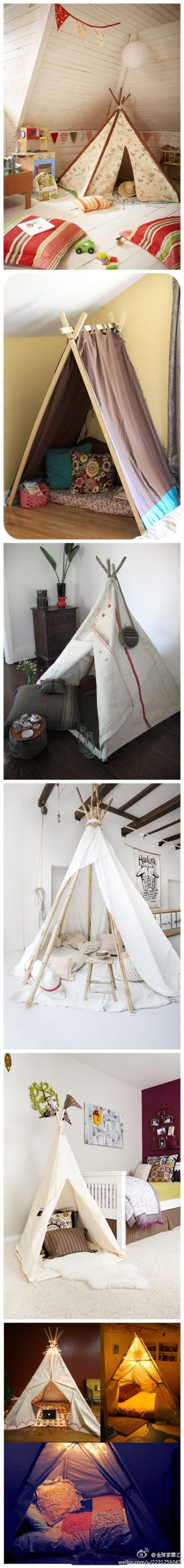 Great idea for kids play corner or even a playroom, if you're fortunate enough to have - could even incorporated I to a classroom environment. Love these teepees ❤❤❤
