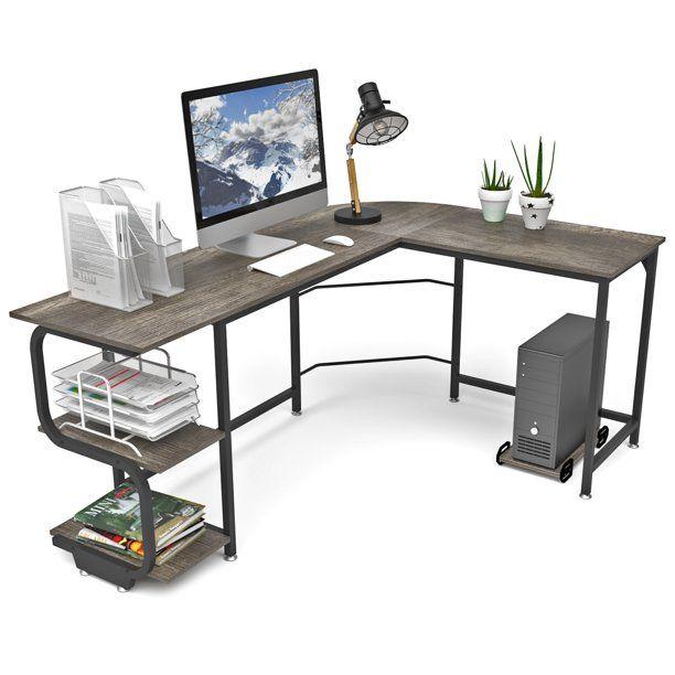 Reversible L Shaped Wood Computer Desk Writting Table Workstation With S Shaped Bookshelves Dark Teak Walmart Com In 2021 L Shaped Desk Pc Desk Corner Computer Desk