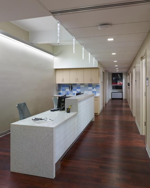Staff can easily navigate between Nurse stations on each side of the Practice and Exam rooms; supplies and Hand washing zones are in close proximity.