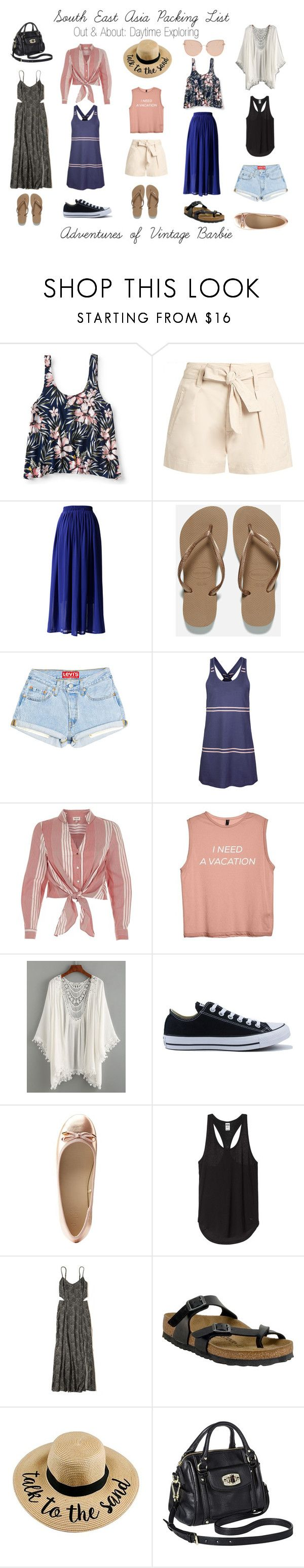 """""""South East Asia Packing Lost: Out and About"""" by vintagebarbie17 on Polyvore featuring Aéropostale, Étoile Isabel Marant, Chicwish, Havaianas, Dakine, River Island, Converse, Charlotte Russe, Hollister Co. and Birkenstock"""