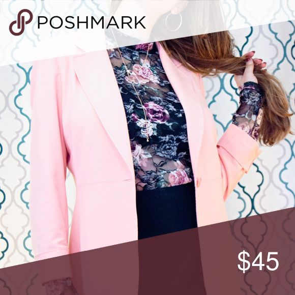 Pink Isabella DeMarco Career Blazer Jacket size 6 This is a beautiful blazer that is the perfect shade of pink. It is fitted and has one button in the front. The fabric is a mixture of rayon, polyester, and spandex and feels smooth but durable to the touch. The best way to clean this garment is with a garment steamer.   I paired this blazer with a Halogen leather mini-skirt, and high neck, lace floral bodysuit, and thigh high black boots. It looks great with trousers, skinny jeans and boots…