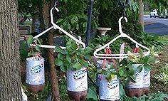 homemade topsy turvy bags hanging plastic bottle planters, container gardening, crafts, gardening, repurposing upcycling, This is 3 strawberry plants and 3 pepper plants hanging on a 2 hook doubled Shepherds hook