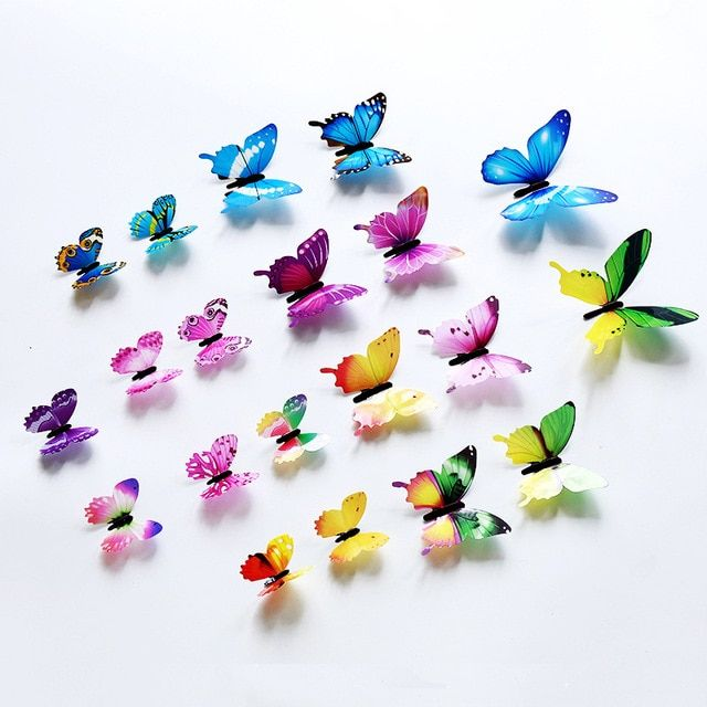 12pcs Set 3d Butterfly Wall Sticker Living Room Home Decor
