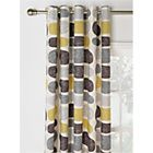 HOME Pebbles Unlined Eyelet Curtains -229x229cm- Grey/Yellow