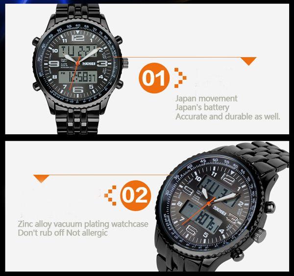 SKMEI 1032 Men's Ditial Analog Wrist Watch - Blue + Black (1*CR2025) - Free Shipping - DealExtreme