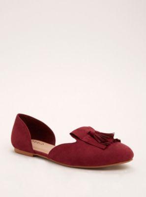 Wide D'Orsay Tassel Loafer Flats in Pink - Wide Width