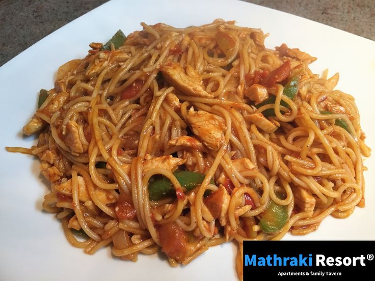 Spaghetti Bouroubourou. One of our signature plates that comes with either chicken or pork. Try it! #Spaghetti #Bouroubourou #Peppers #Chicken #Pork #Family #Recipes #Mathraki #Resort #Gouvia #Corfu #Greece