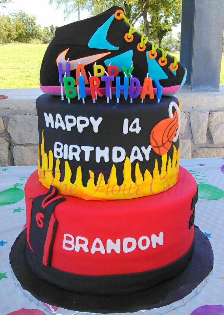 Teen boy lebron James Miami heat shoe cake