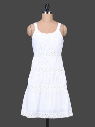 Buy Sera Solid White Cotton Sleeveless Dress Online, , LimeRoad