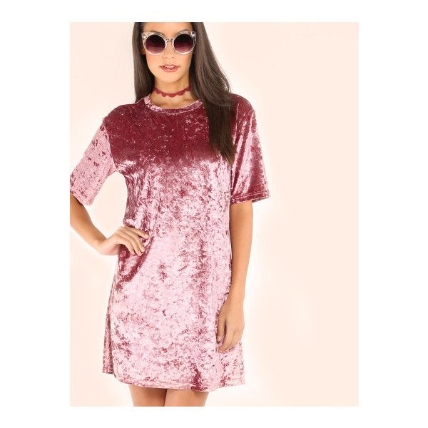 SheIn(sheinside) Pink Velvet T-shirt Dress (105 GTQ) ❤ liked on Polyvore featuring dresses, pink, pink dress, tee shirt dress, short pink dress, short-sleeve maxi dresses and short dresses