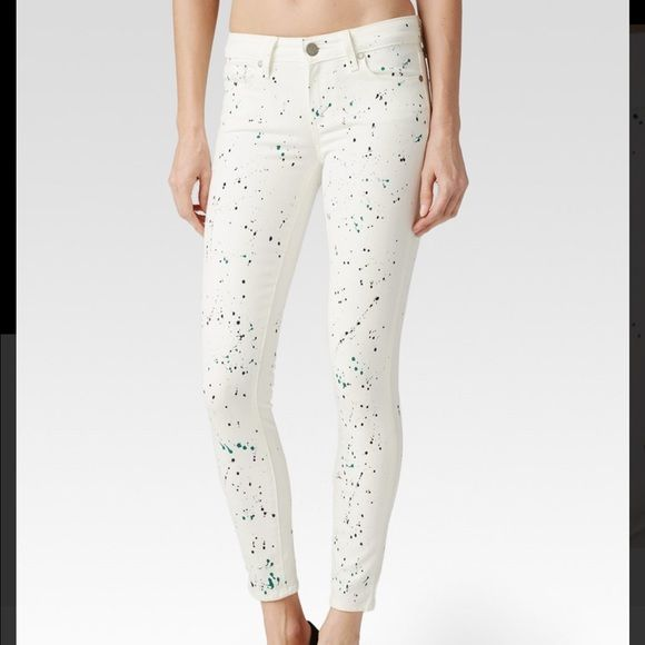 Paige Van Gogh collection white ankle jeans Paige Van Gogh white skinny ankle jeans. Very comfortable and stretchy. Unique splash of color, sold out at Nordstrom!!! Brand new never worn. Tags intact. No trades. Offers welcome. Paige Jeans Jeans Ankle & Cropped