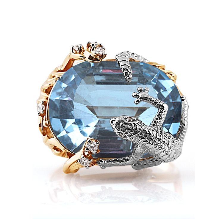 Кольцо из красного золота 585 пробы с белыми бриллиантами и топазом (арт. Т141014144)ювелирный магазин KARATOV.COM