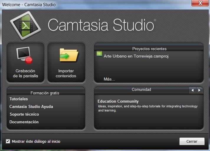 Pantalla inicio Camtasia: Inicio Camtasia, Camtasia Studios, Pantalla Inicio