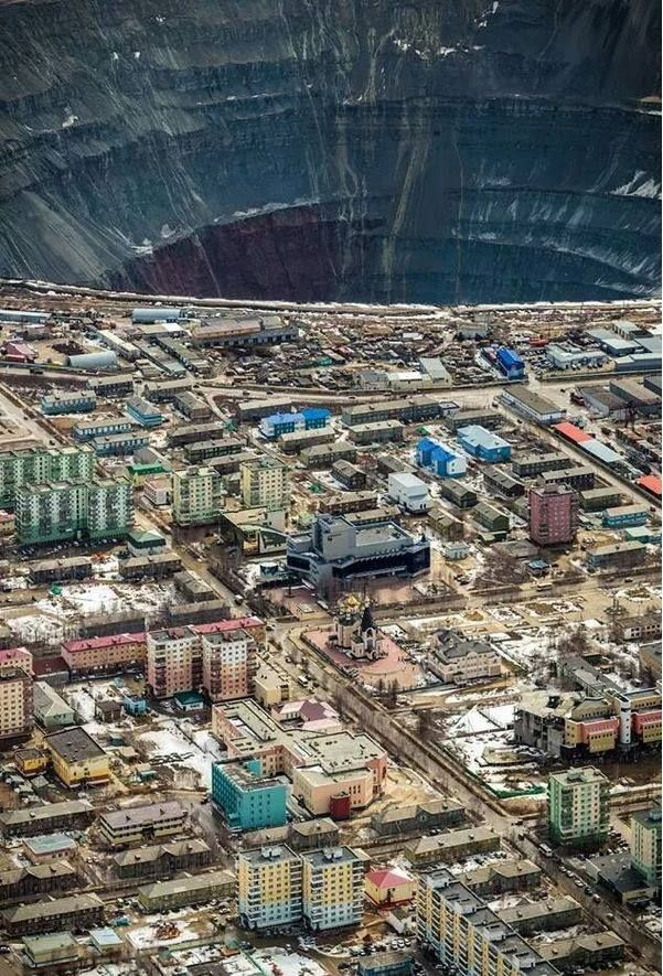 the abandoned mir mine diamond pit and the town of mirny