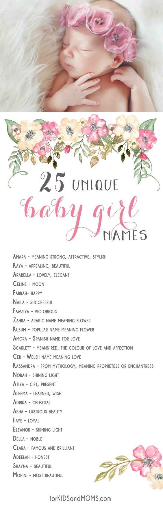 25 Unique Baby Girl Names And Meanings List Forkidsandmoms