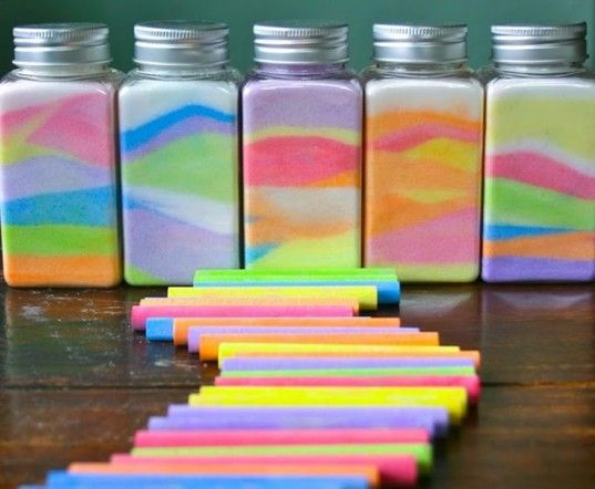 Rainbow in a jar mason jar crafts recycled mason jar for Crafts to make with glass jars