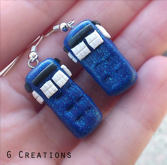 Doctor Who Tardis Earrings  Police Box by GabriellesCreations, $13.00