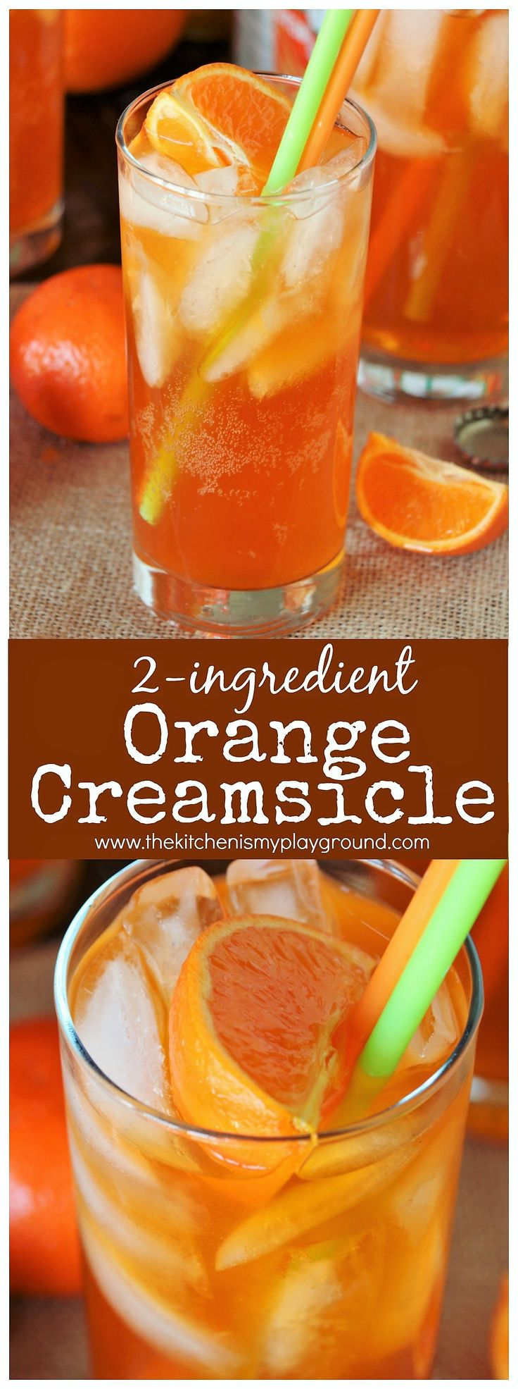 Orange Creamsicle Drink ~ Just 2 simple ingredients combine to create this super tasty drink version of the childhood favorite orange creamsicle popsicle! #orangecreamsicle #orangedrink #creamsicle #mocktails #mocktail #summerdrinks #thekitchenismyplayground  www.thekitchenismyplayground.com