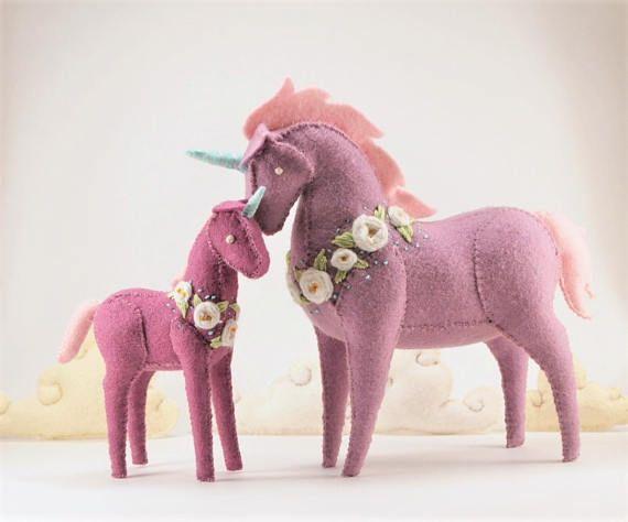 Felt stuffed unicorn plushes
