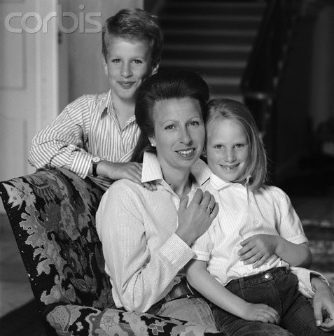 """Princess Anne with her children, Peter and Zara Phillips. The Princess Anne asked the Queen upon his birth not to grant him an HRH–or, in fact, any title. His father Captain Mark Phillips is a commoner who refused a title from the Queen upon his marriage to The Princess Anne, so Peter didn't automatically inherit a title–even though his mother is the daughter of a monarch, which is why she gets the """"The"""" in front of her name"""