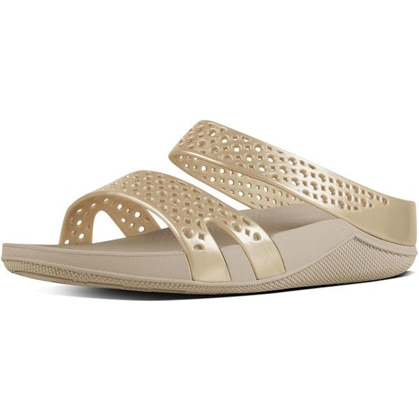 FitFlop Ringer™ (12 KWD) ❤ liked on Polyvore featuring shoes, sandals, gold, gold shoes, fitflop sandals, flexible shoes, cocktail shoes and gold evening sandals