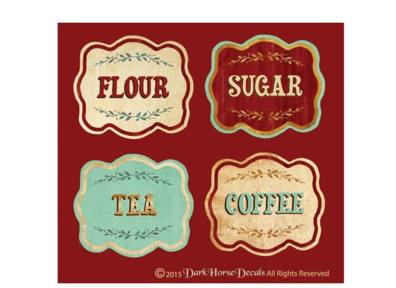 Vintage Style Canister Labels Set Of 4 Flour By