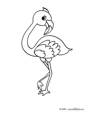 Cute flamingo coloring page. Nice bird coloring sheet. More original content on hellokids.com