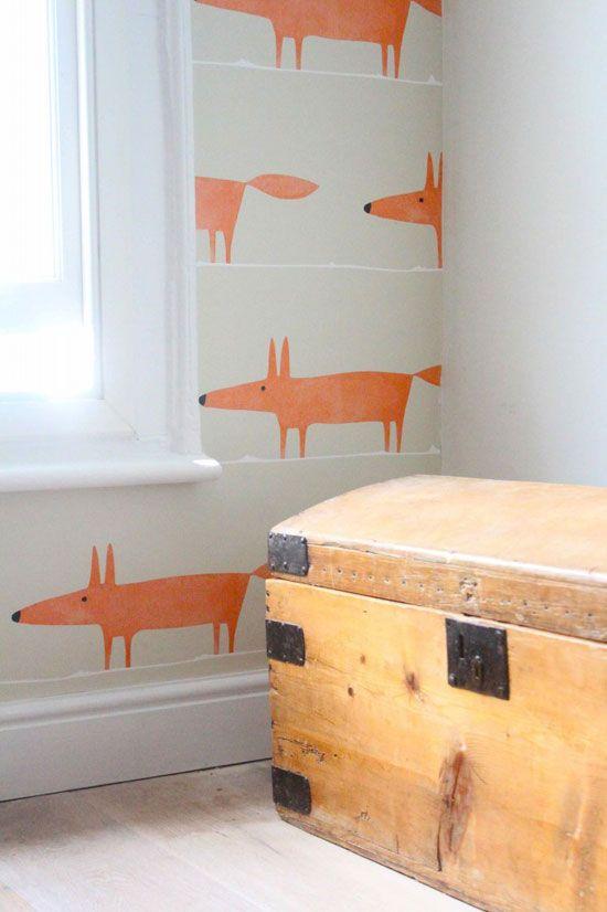 De Populaire Scion Mr Fox Ontwerpen, Bekend Geworden Van Het Stoere  Kinderkamer Behang Met Oranje