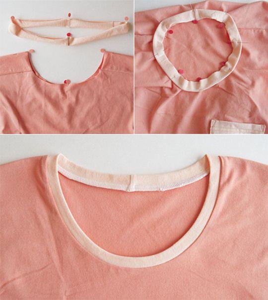 Knit fabric hem and neckline finishes