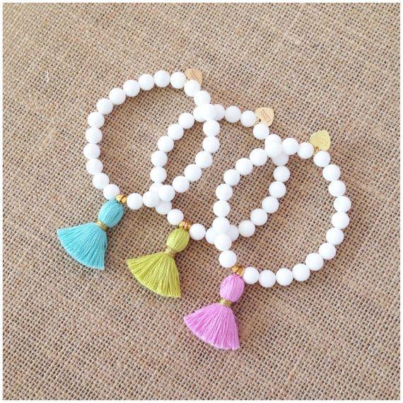 White Jade Luxury Tassel Bracelet by LovesAffect on Etsy