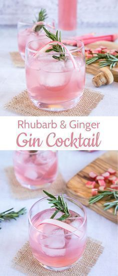 Zwei schöne Fotos von einem hübschen rosa Rhabarber-Ingwer-Gin-Cocktail mit