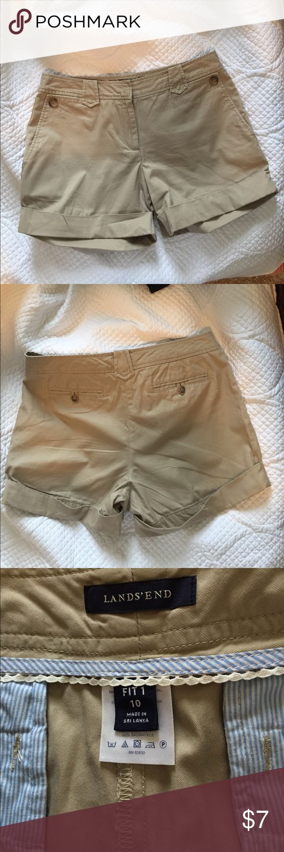 """🎯 Lands End khaki shorts EUC Khaki cuffed shorts. Size 10 measures 17"""" at waist and 14"""" from waist to bottom. Lands' End Shorts"""
