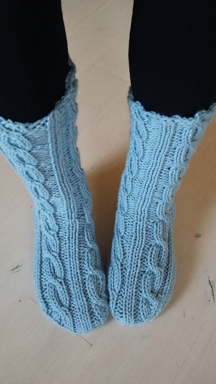 Blue and white cable socks