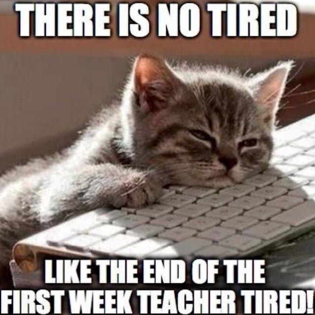 A teacher's face when... she is end-of-the-first-week-teacher tired.