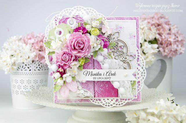 Male fantazje Oli: DT Przyda się - Ręcznie robiona kartka ślubna w różu