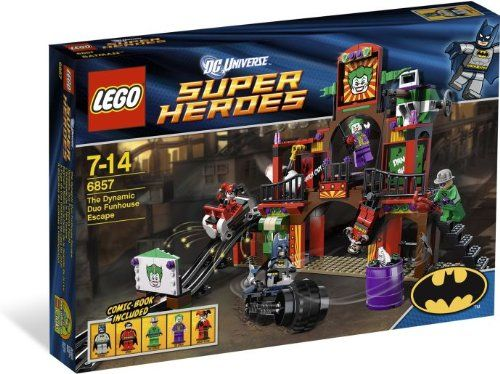Help BatmanTM save Robin from the villainous trio!The RiddlerTM The Joker and his sidekick Harley Quinn are holding Robin hostage at their evil funhouse! As our hero BatmanTM jumps off his cool Batcy...