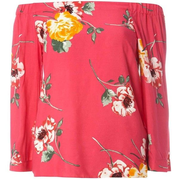 Dorothy Perkins Pink Floral Bardot Top ($45) ❤ liked on Polyvore featuring tops, pink, viscose tops, pink top, red floral top, floral tops and pink floral top