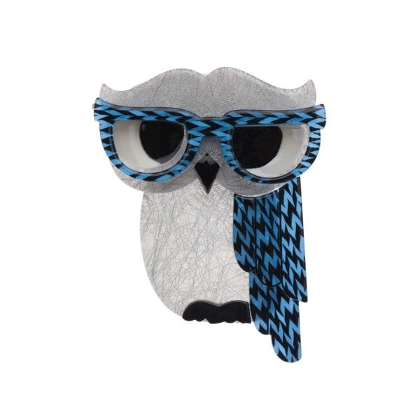 """Erstwilder Limited Edition Waldo the Wacky Wise Owl resin brooch. """"He's seldom early to bed and never early to rise yet Waldo still knows what's up!"""""""