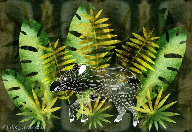 """Для челленджа от @spoonflower """"Spirit Animals"""". Третий этап - животные тропического леса. У меня - крошка #тапир 🐷. . Начала делать также как первые - контурные рисунки линером, но потом что-то пошло по-другому и получился совсем другой стиль. Да и фон очень хитрый - можно ставить """"плитки"""" в шахматном порядке, кирпичный кладкой, в зеркальном отражении. В любом случае он будет #бесшовный. Вот так)). . . #spiritanimals #baby #tapir #tapirus #rainforest #тропическийлес #джунгли #pig #рисунок…"""