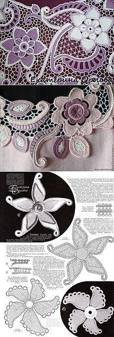 Цветы тунисской техникой в ирландском вязании - схемы