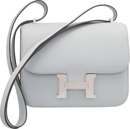 Hermes 18cm Blue Glacier Epsom Leather Constance Bag with Palladium  Hardware 2016  0933a6a77d0c5