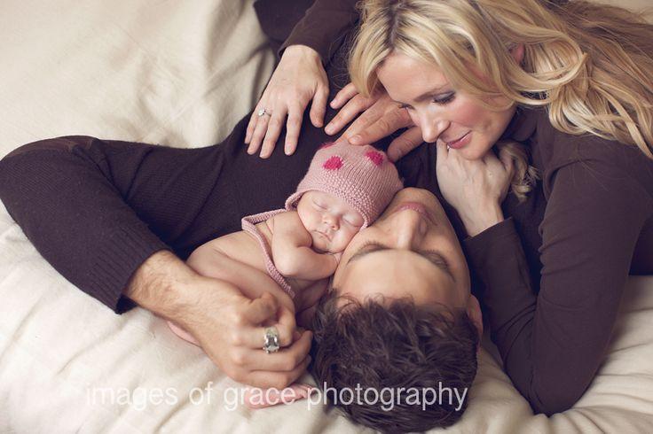 mom, dad, newborn pose
