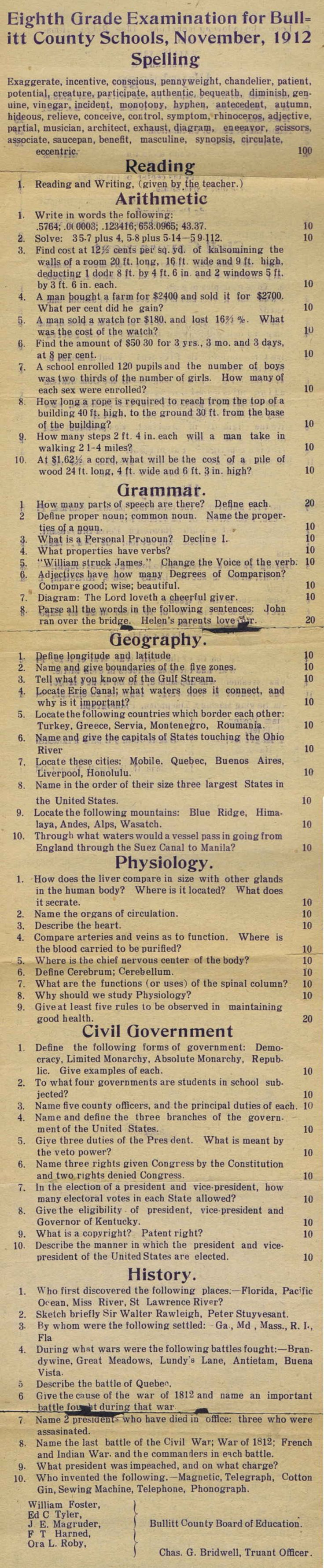 A school test from 1912- could you pass?  granted some are not applicable to nowadays and some words have changed.  Like Serbia was spelled Servia back then