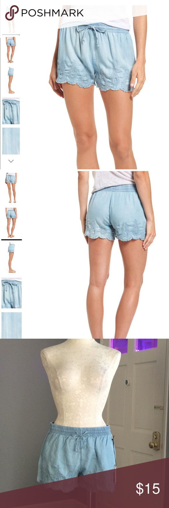 """Dex Jeans Chambray Eyelet Shorts NWT! Dex Jeans shorts size small. A delicately scalloped border of embroidered eyelet sweetens these ultra-comfy shorts of soft chambray. No lining.  2 1/2"""" inseam; 25"""" leg opening; 9 1/2"""" front rise; 13"""" back rise  Pull-on style; elasticized drawstring waist 100% Tencel lyocell Machine wash, line dry Dex Jeans Shorts"""